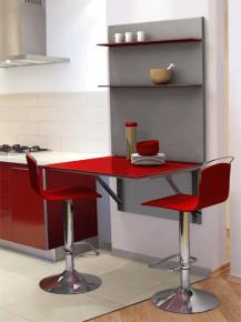 Mesa cocina cancio serie viva mesa plegable con plaf n for Mesa abatible pared cocina